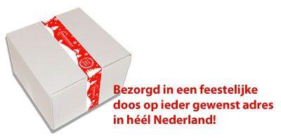 Oliebollenkoerier bezorgd in een feestelijke doos op ieder gewenst adres in heel Nederland